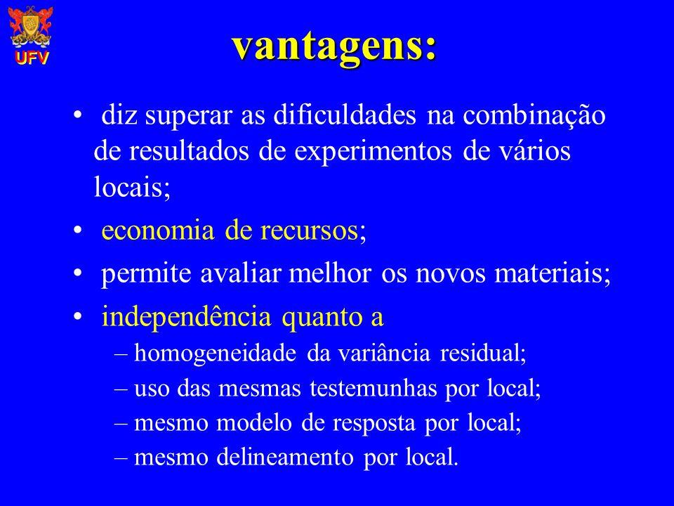 UFV vantagens: diz superar as dificuldades na combinação de resultados de experimentos de vários locais;