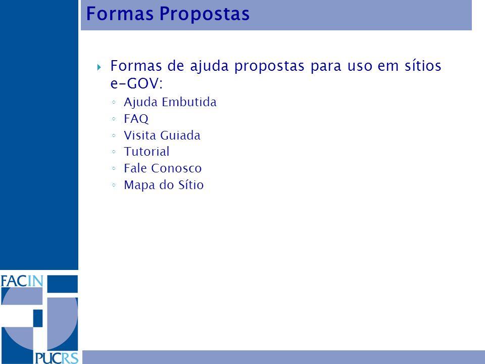 Formas Propostas Formas de ajuda propostas para uso em sítios e-GOV: