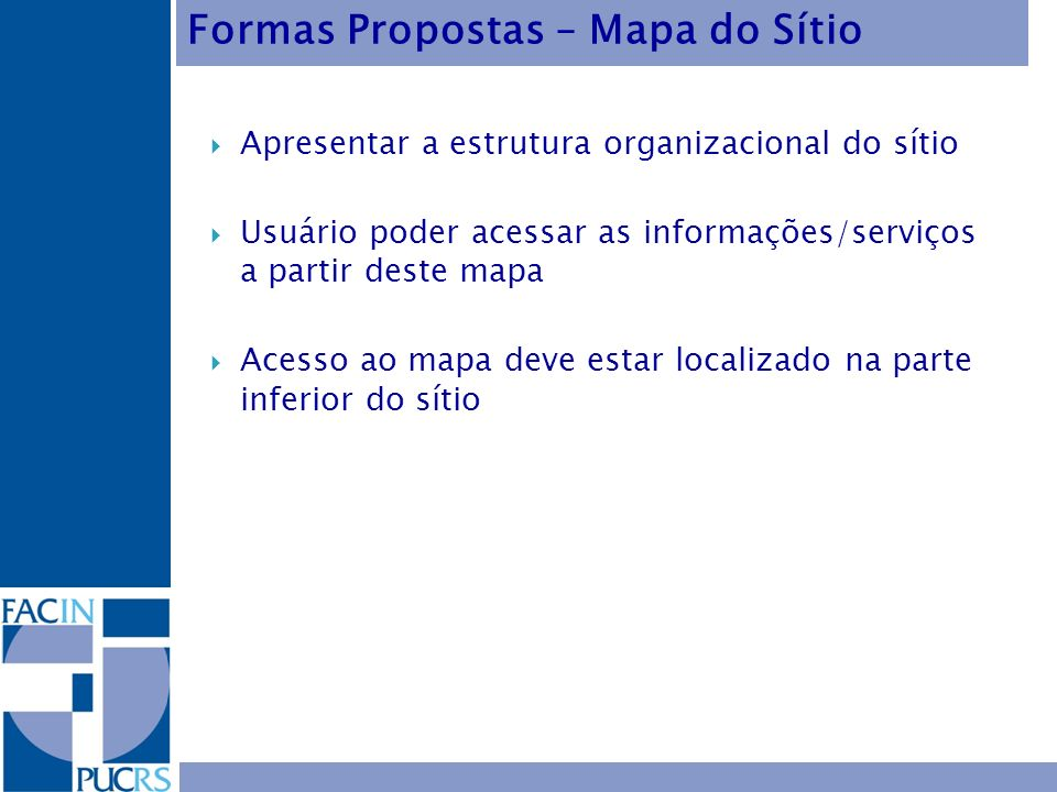 Formas Propostas – Mapa do Sítio