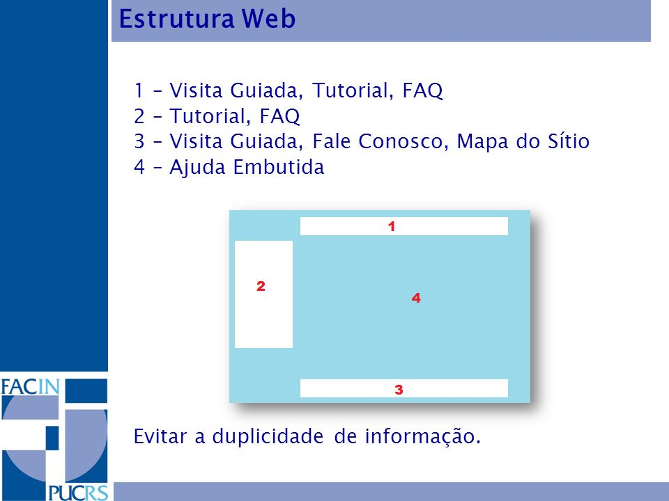 Estrutura Web 1 – Visita Guiada, Tutorial, FAQ 2 – Tutorial, FAQ