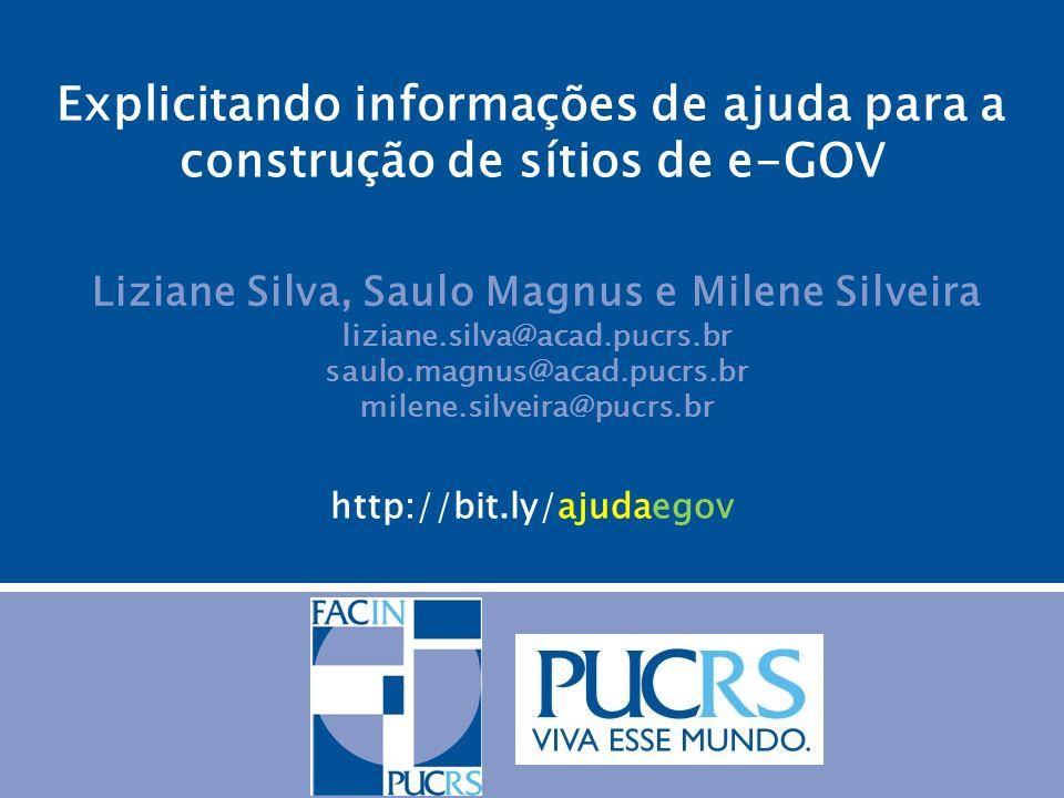 Explicitando informações de ajuda para a construção de sítios de e-GOV