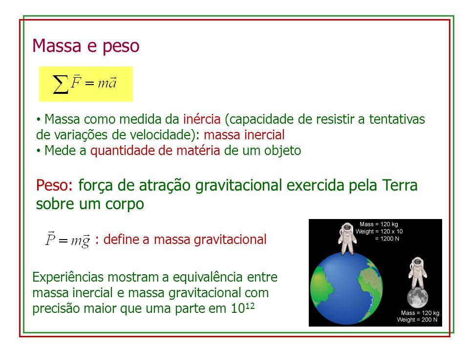 Massa e peso Massa como medida da inércia (capacidade de resistir a tentativas de variações de velocidade): massa inercial.