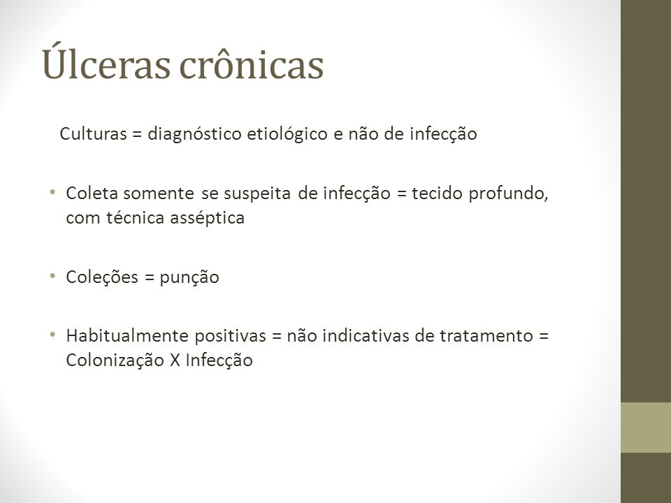 Úlceras crônicas Culturas = diagnóstico etiológico e não de infecção