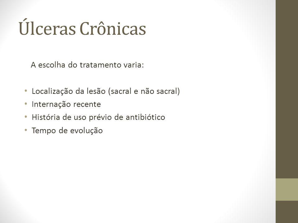 Úlceras Crônicas A escolha do tratamento varia: