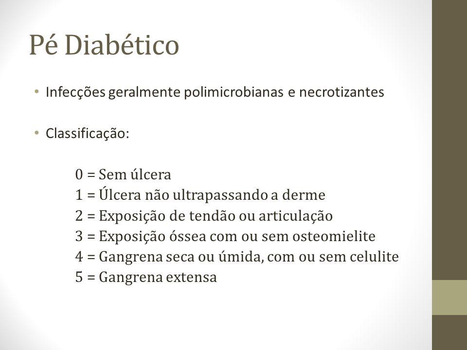 Pé Diabético Infecções geralmente polimicrobianas e necrotizantes