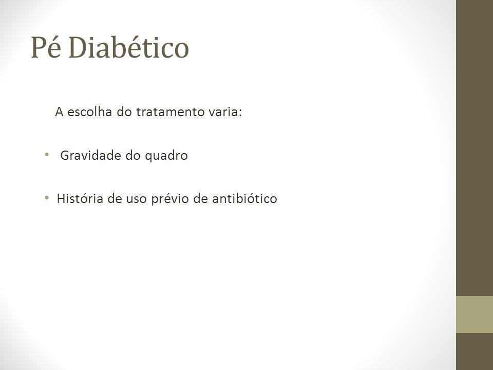 Pé Diabético A escolha do tratamento varia: Gravidade do quadro