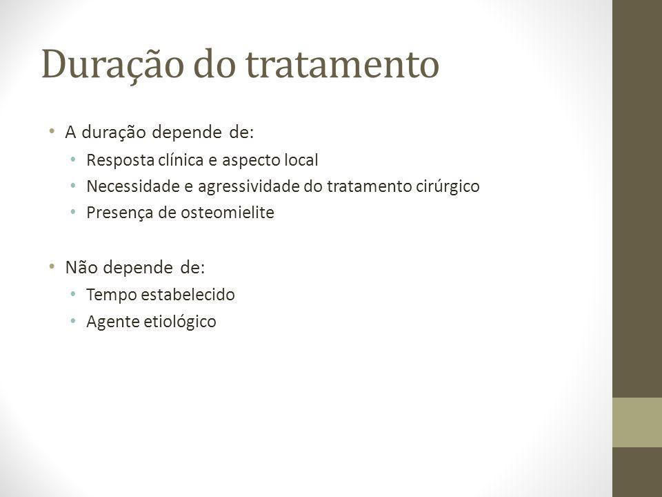 Duração do tratamento A duração depende de: Não depende de: