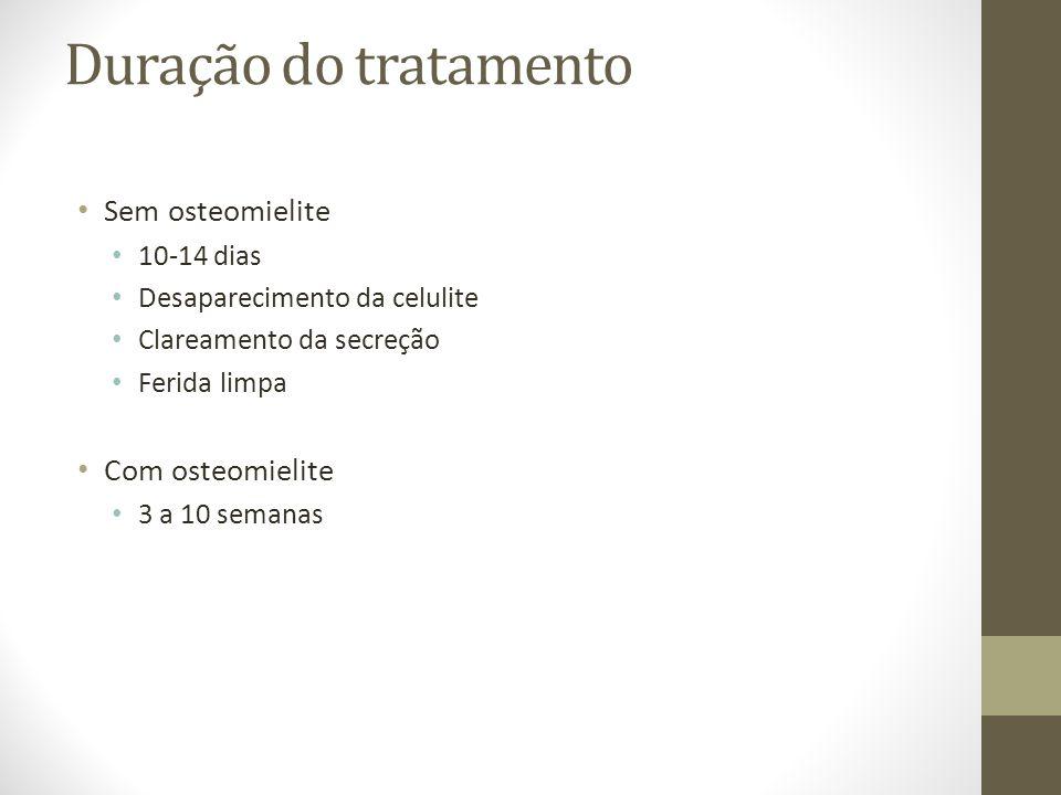 Duração do tratamento Sem osteomielite Com osteomielite 10-14 dias