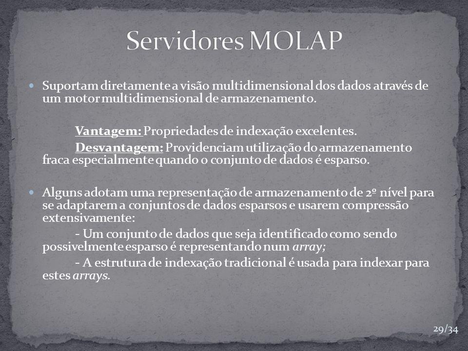 Servidores MOLAP Suportam diretamente a visão multidimensional dos dados através de um motor multidimensional de armazenamento.