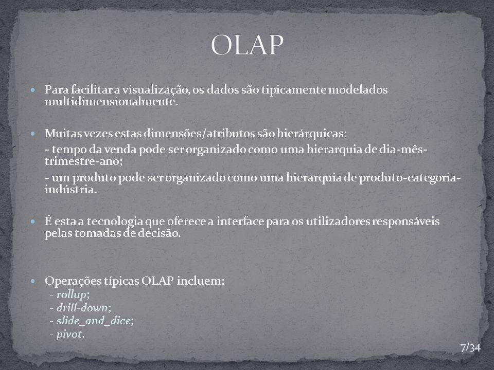 OLAP Para facilitar a visualização, os dados são tipicamente modelados multidimensionalmente.