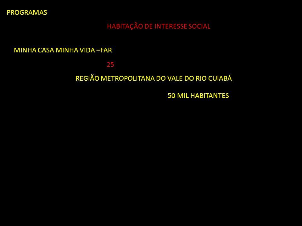 PROGRAMAS HABITAÇÃO DE INTERESSE SOCIAL. MINHA CASA MINHA VIDA –FAR. 25. REGIÃO METROPOLITANA DO VALE DO RIO CUIABÁ.