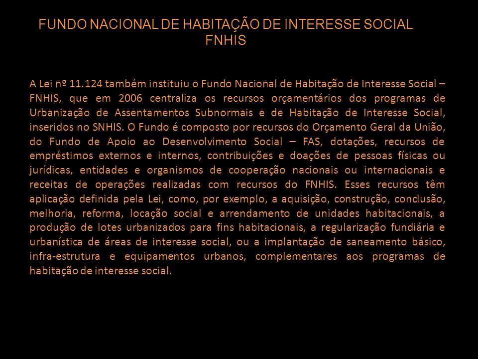 FUNDO NACIONAL DE HABITAÇÃO DE INTERESSE SOCIAL FNHIS