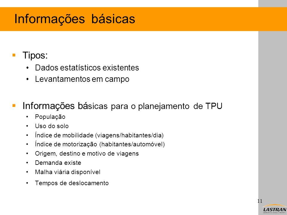 Informações básicas Tipos: