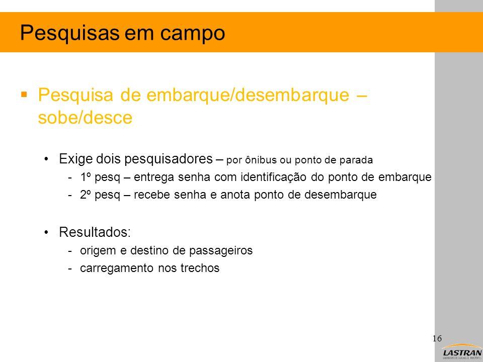 Pesquisas em campo Pesquisa de embarque/desembarque – sobe/desce