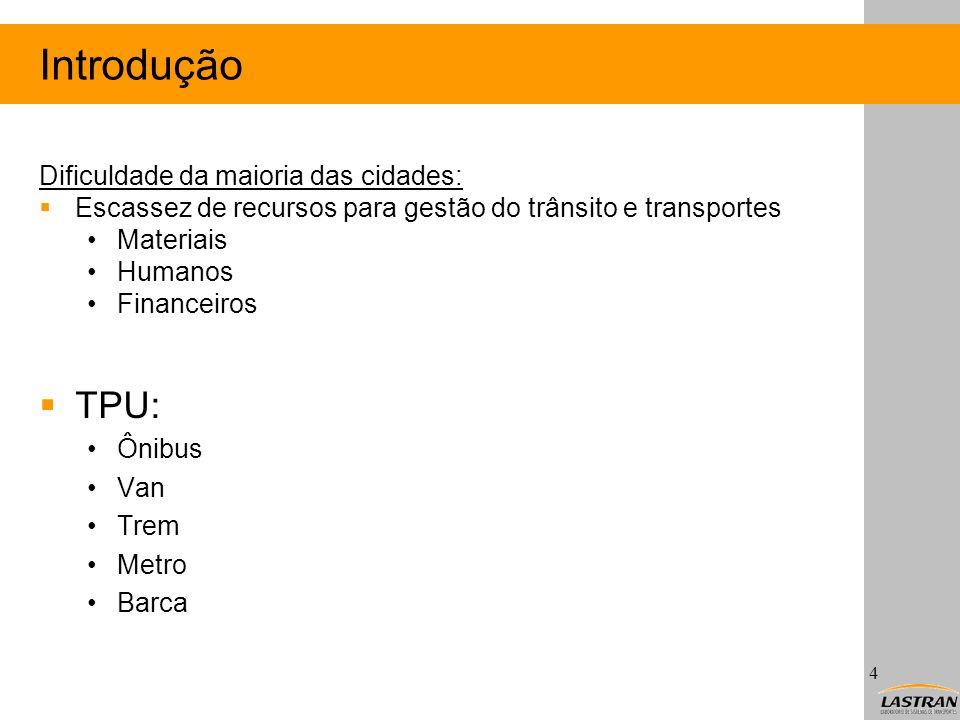 Introdução TPU: Dificuldade da maioria das cidades: