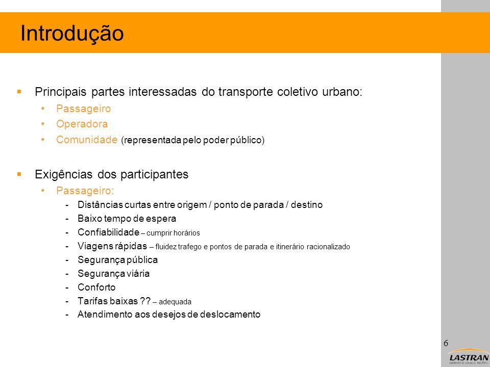 Introdução Principais partes interessadas do transporte coletivo urbano: Passageiro. Operadora. Comunidade (representada pelo poder público)
