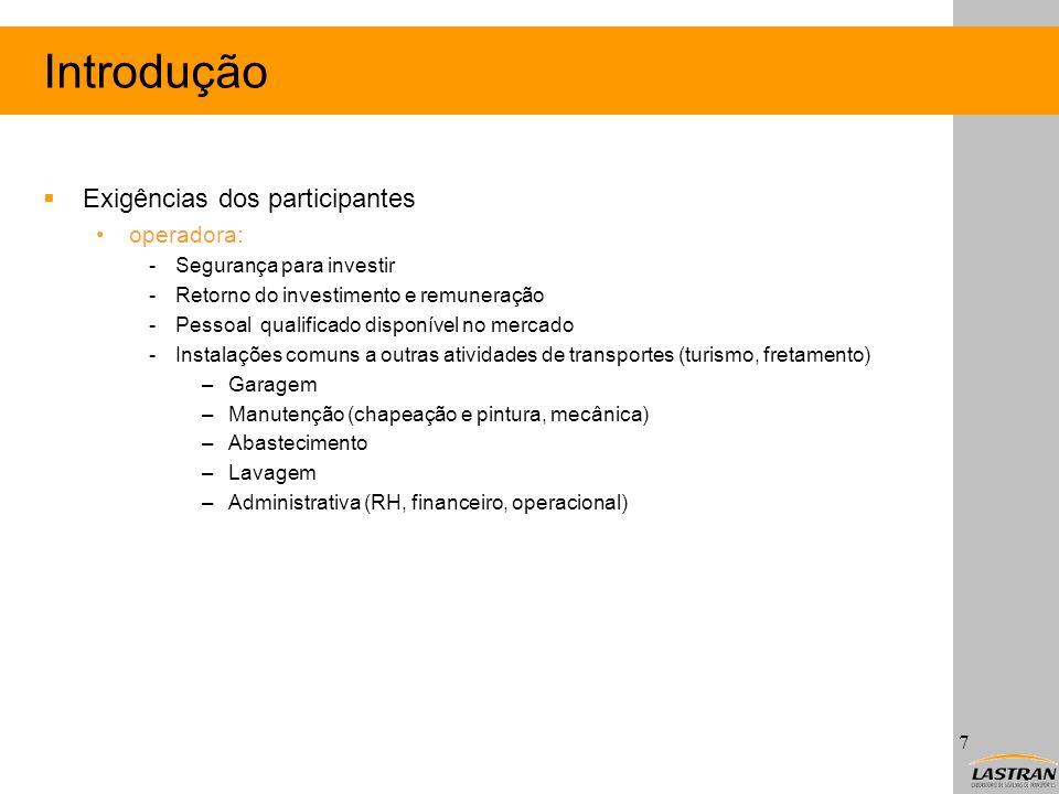Introdução Exigências dos participantes operadora: