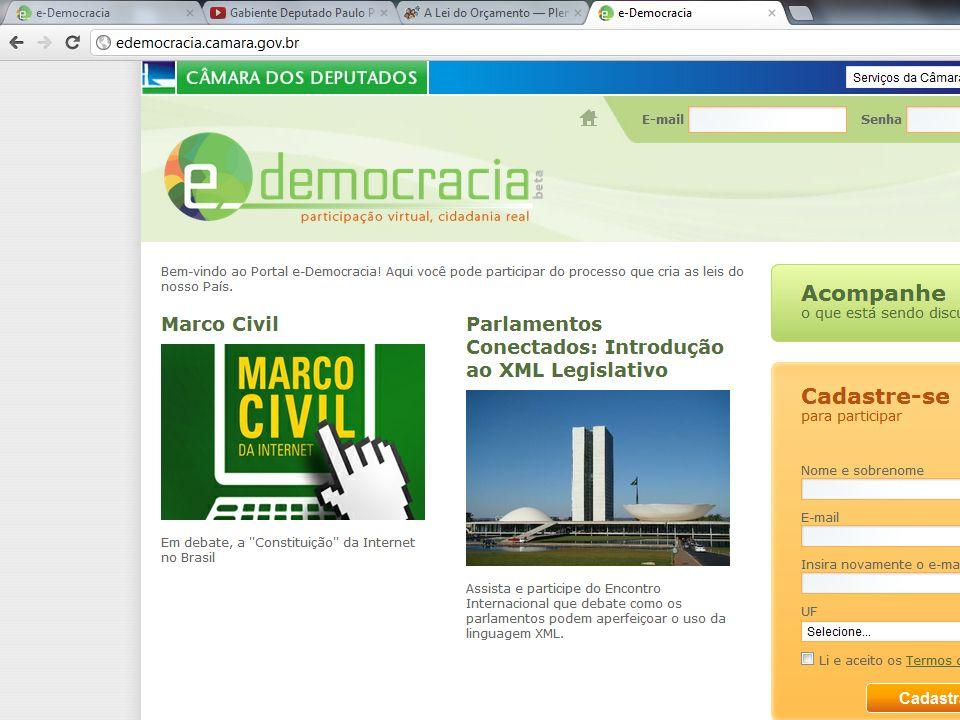 O portal e-democracia que foi criado para que os cidadãos e as organizações possam, pela internet, participar do processo legislativo.