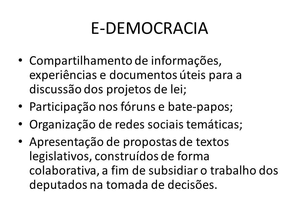 E-DEMOCRACIA Compartilhamento de informações, experiências e documentos úteis para a discussão dos projetos de lei;