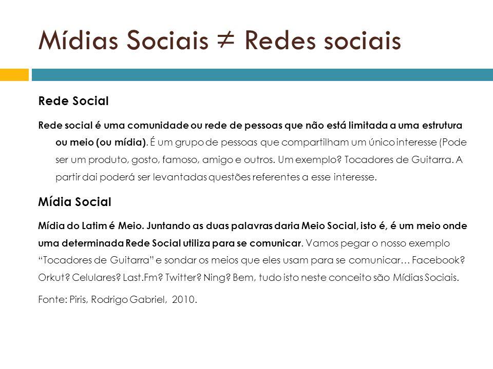 Mídias Sociais ≠ Redes sociais