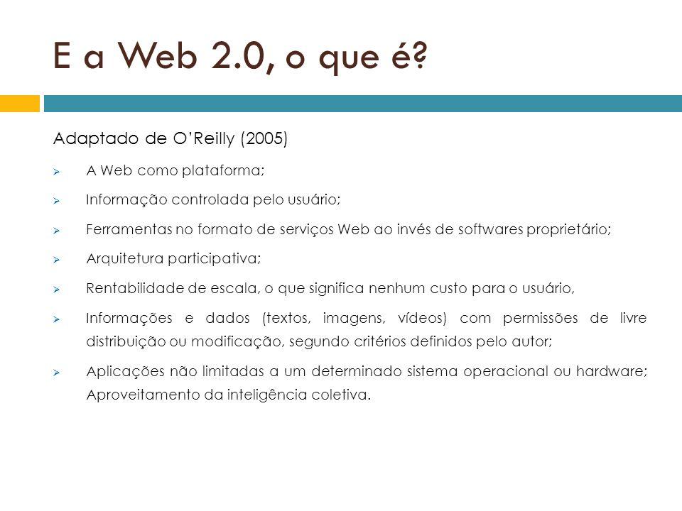 E a Web 2.0, o que é Adaptado de O'Reilly (2005)