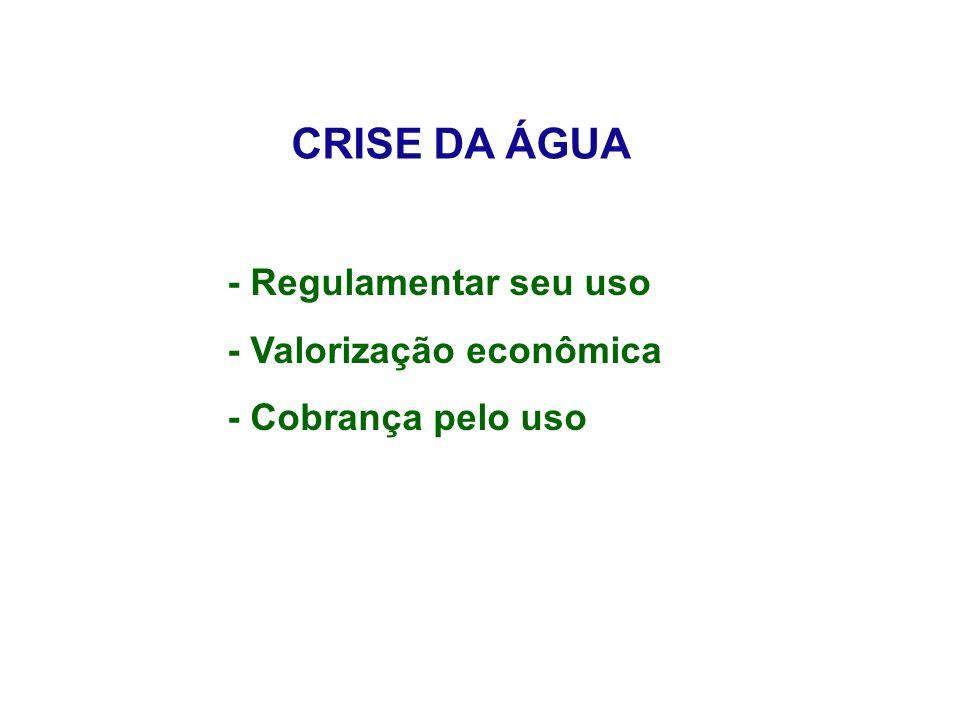 CRISE DA ÁGUA - Regulamentar seu uso - Valorização econômica