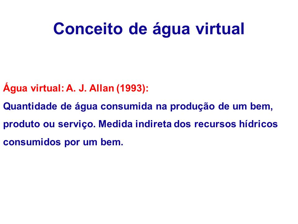 Conceito de água virtual