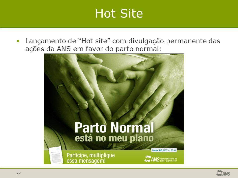 Hot Site Lançamento de Hot site com divulgação permanente das ações da ANS em favor do parto normal: