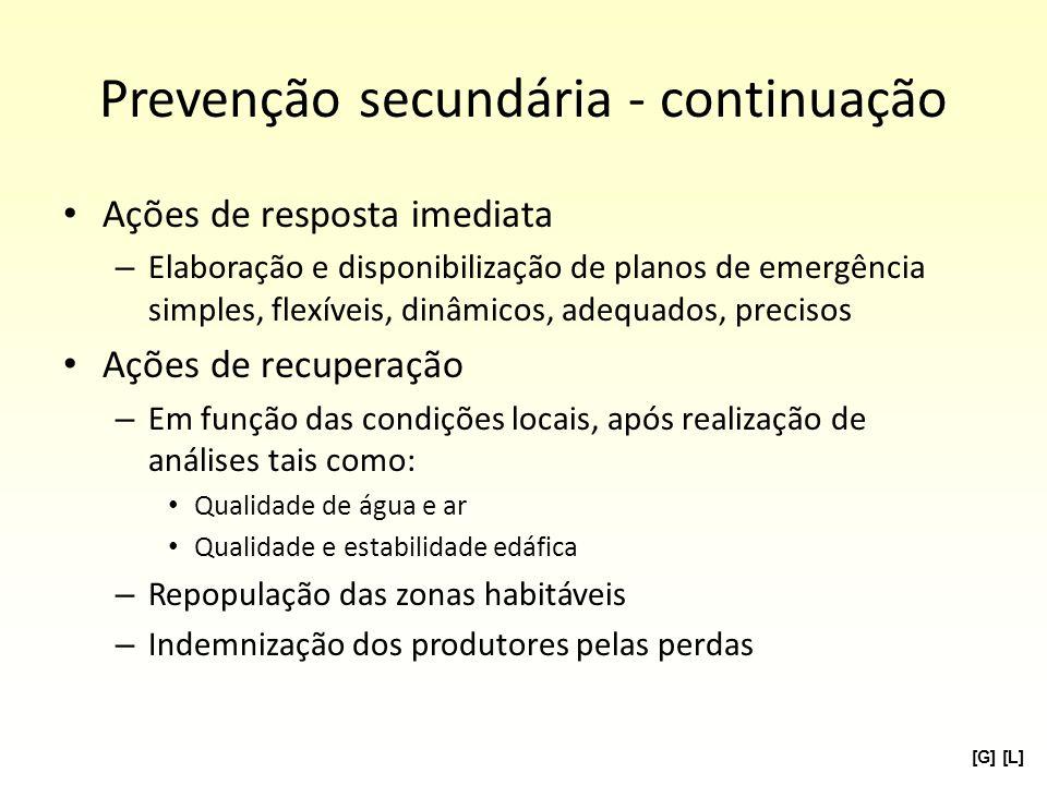 Prevenção secundária - continuação