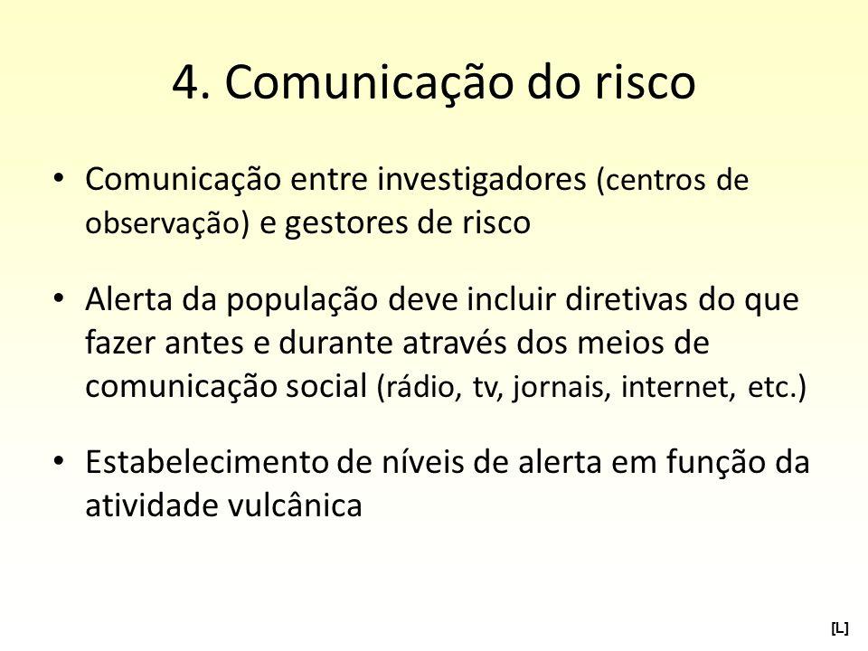 4. Comunicação do risco Comunicação entre investigadores (centros de observação) e gestores de risco.
