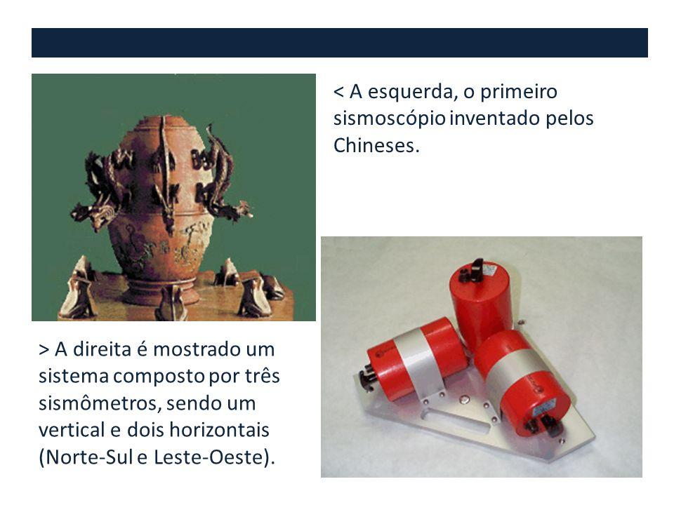 < A esquerda, o primeiro sismoscópio inventado pelos Chineses.