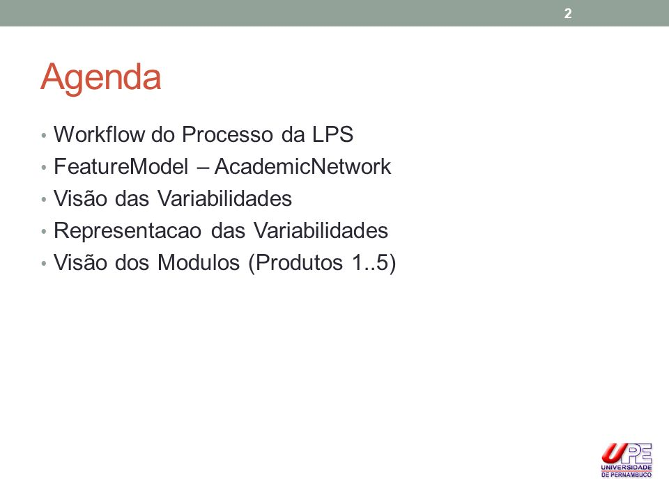 Agenda Workflow do Processo da LPS FeatureModel – AcademicNetwork