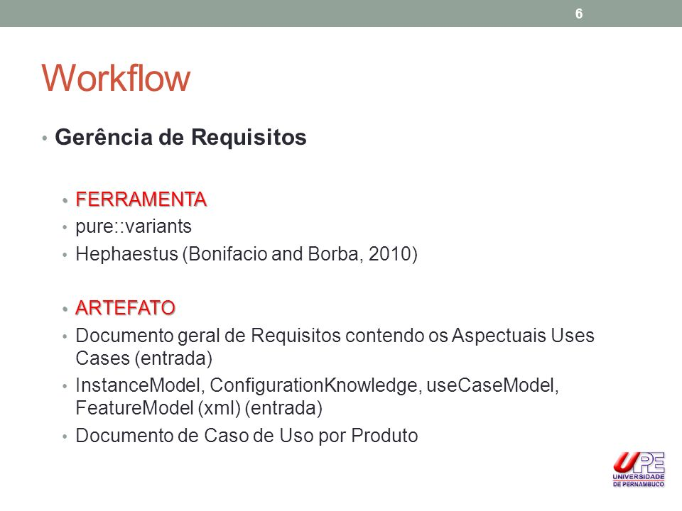 Workflow Gerência de Requisitos FERRAMENTA pure::variants