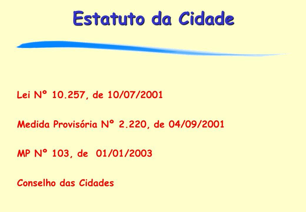 Lei Nº 10.257, de 10/07/2001 Medida Provisória Nº 2.220, de 04/09/2001. MP Nº 103, de 01/01/2003.