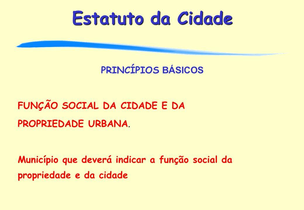 PRINCÍPIOS BÁSICOS FUNÇÃO SOCIAL DA CIDADE E DA. PROPRIEDADE URBANA.