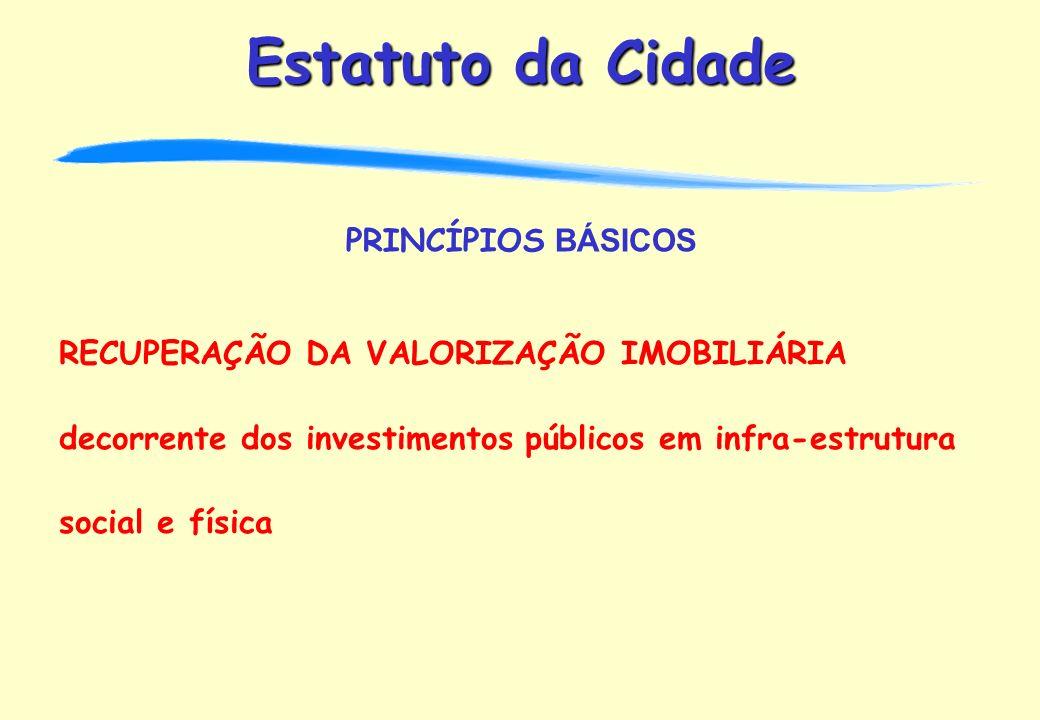 PRINCÍPIOS BÁSICOS RECUPERAÇÃO DA VALORIZAÇÃO IMOBILIÁRIA decorrente dos investimentos públicos em infra-estrutura social e física.