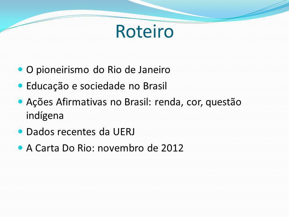 Roteiro O pioneirismo do Rio de Janeiro Educação e sociedade no Brasil
