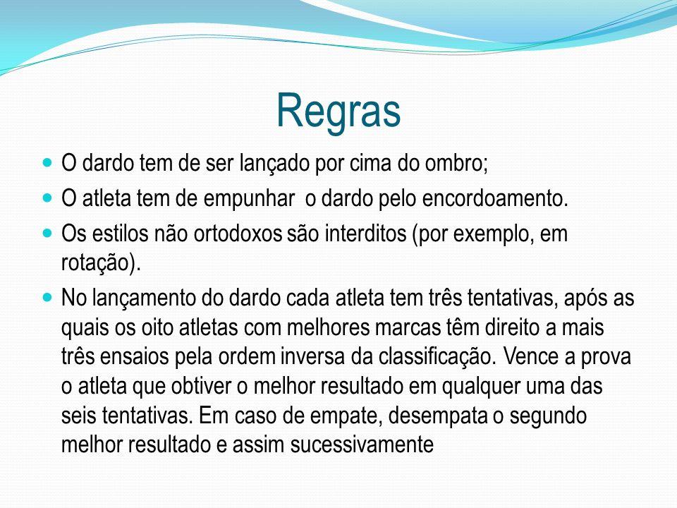 Regras O dardo tem de ser lançado por cima do ombro;