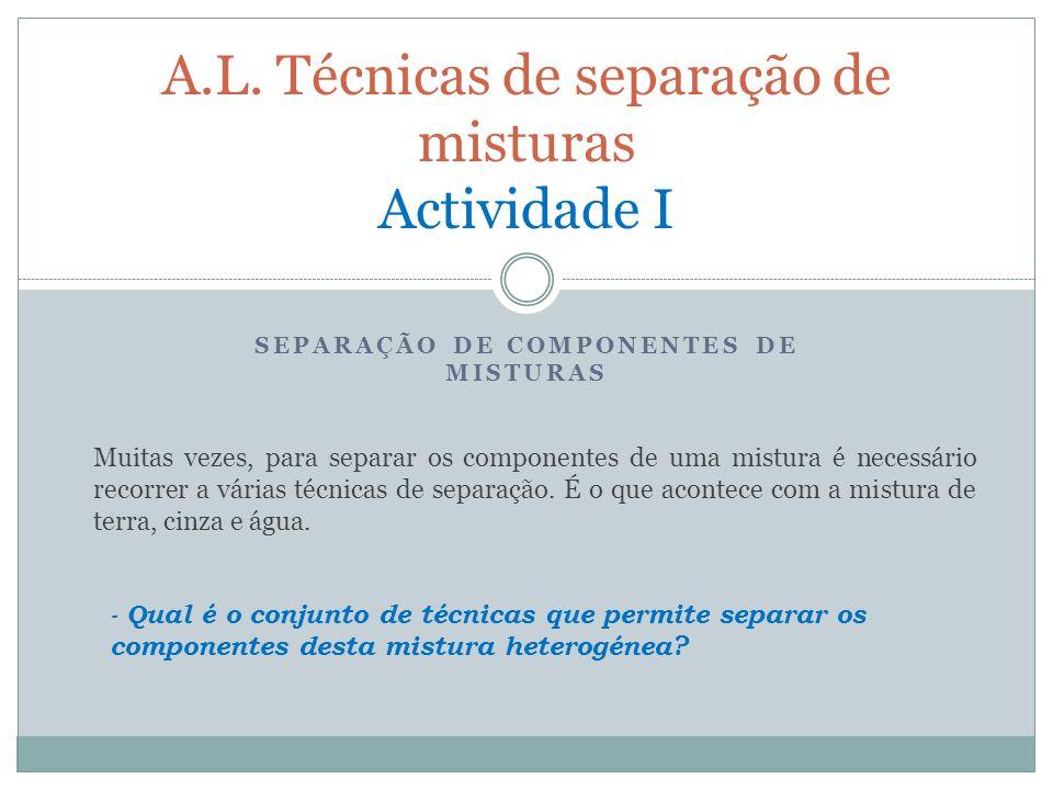 A.L. Técnicas de separação de misturas Actividade I