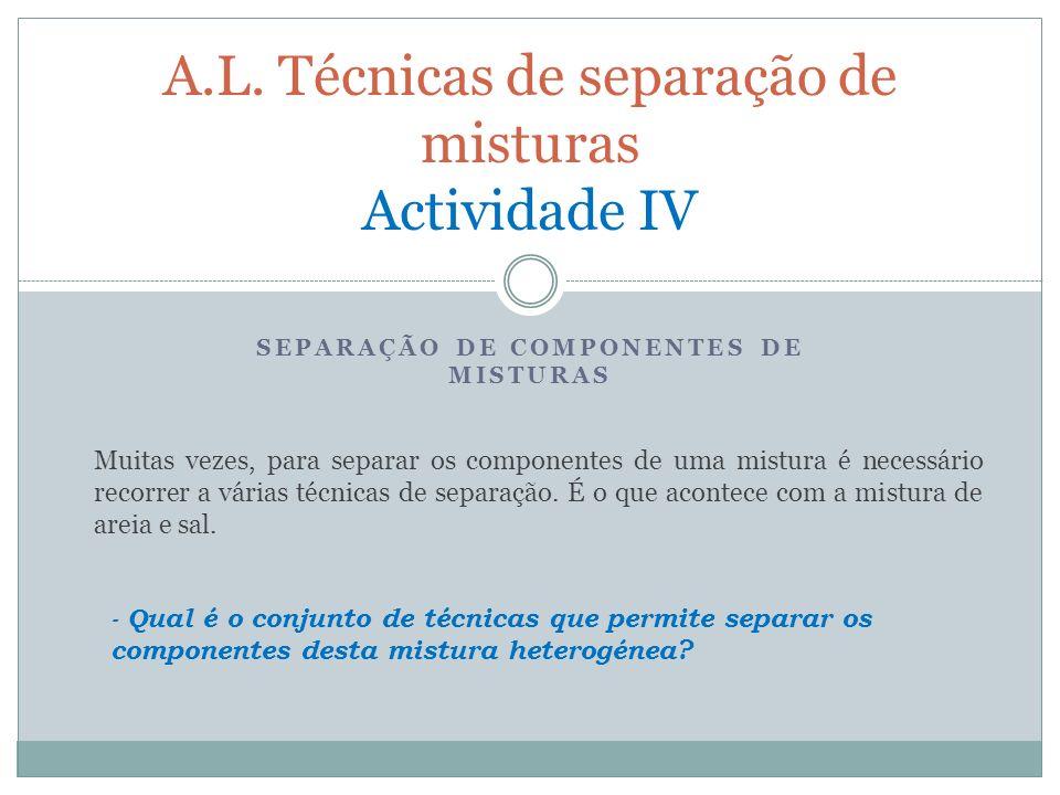 A.L. Técnicas de separação de misturas Actividade IV