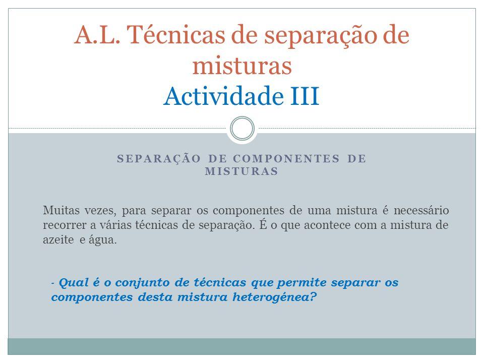 A.L. Técnicas de separação de misturas Actividade III
