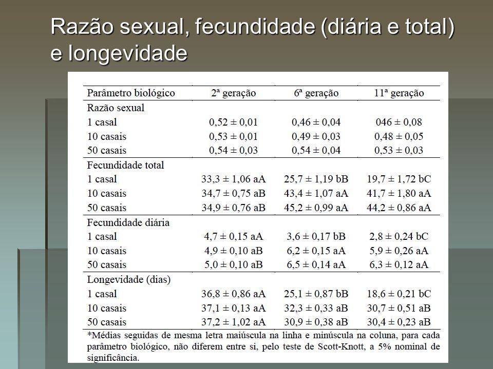 Razão sexual, fecundidade (diária e total) e longevidade