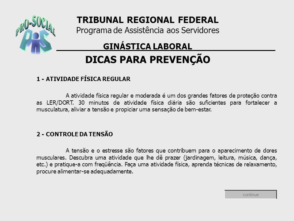 DICAS PARA PREVENÇÃO TRIBUNAL REGIONAL FEDERAL