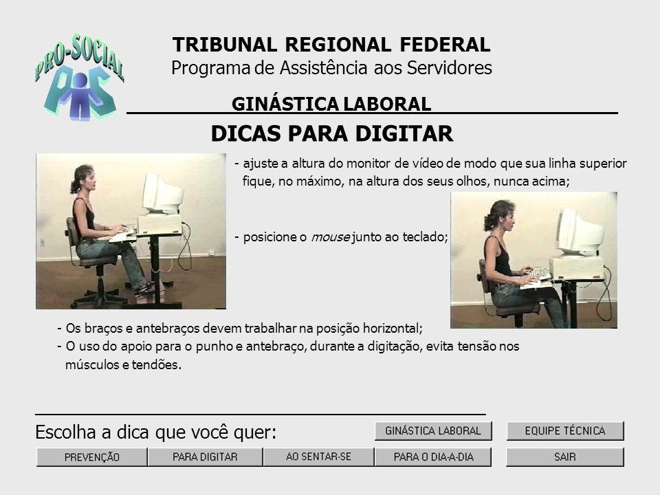 DICAS PARA DIGITAR TRIBUNAL REGIONAL FEDERAL