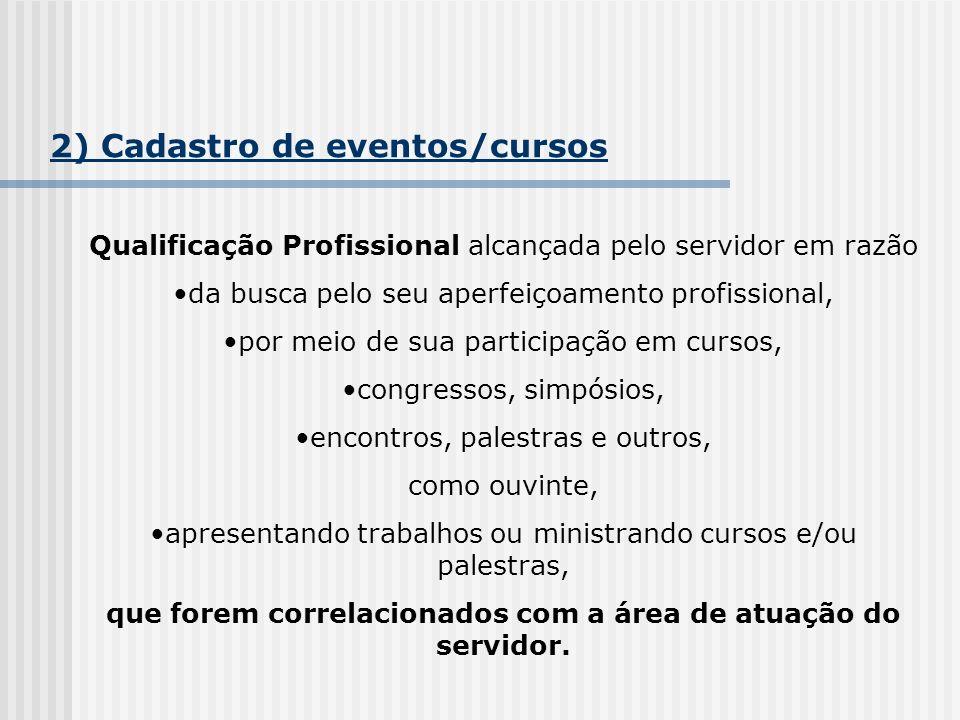 2) Cadastro de eventos/cursos