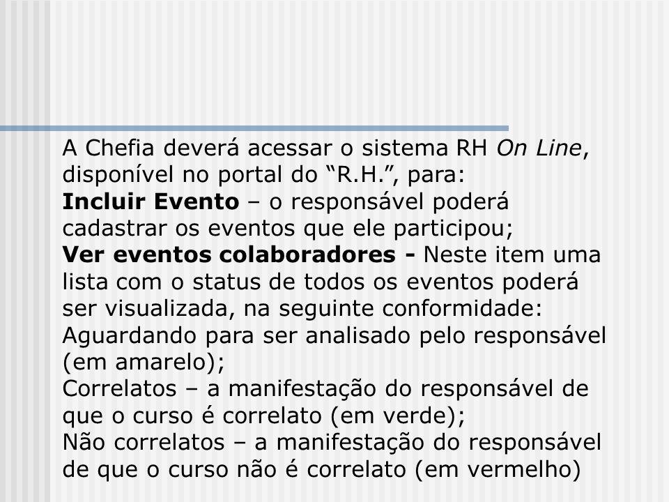 A Chefia deverá acessar o sistema RH On Line, disponível no portal do R.H. , para: