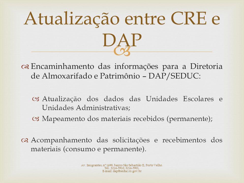 Atualização entre CRE e DAP