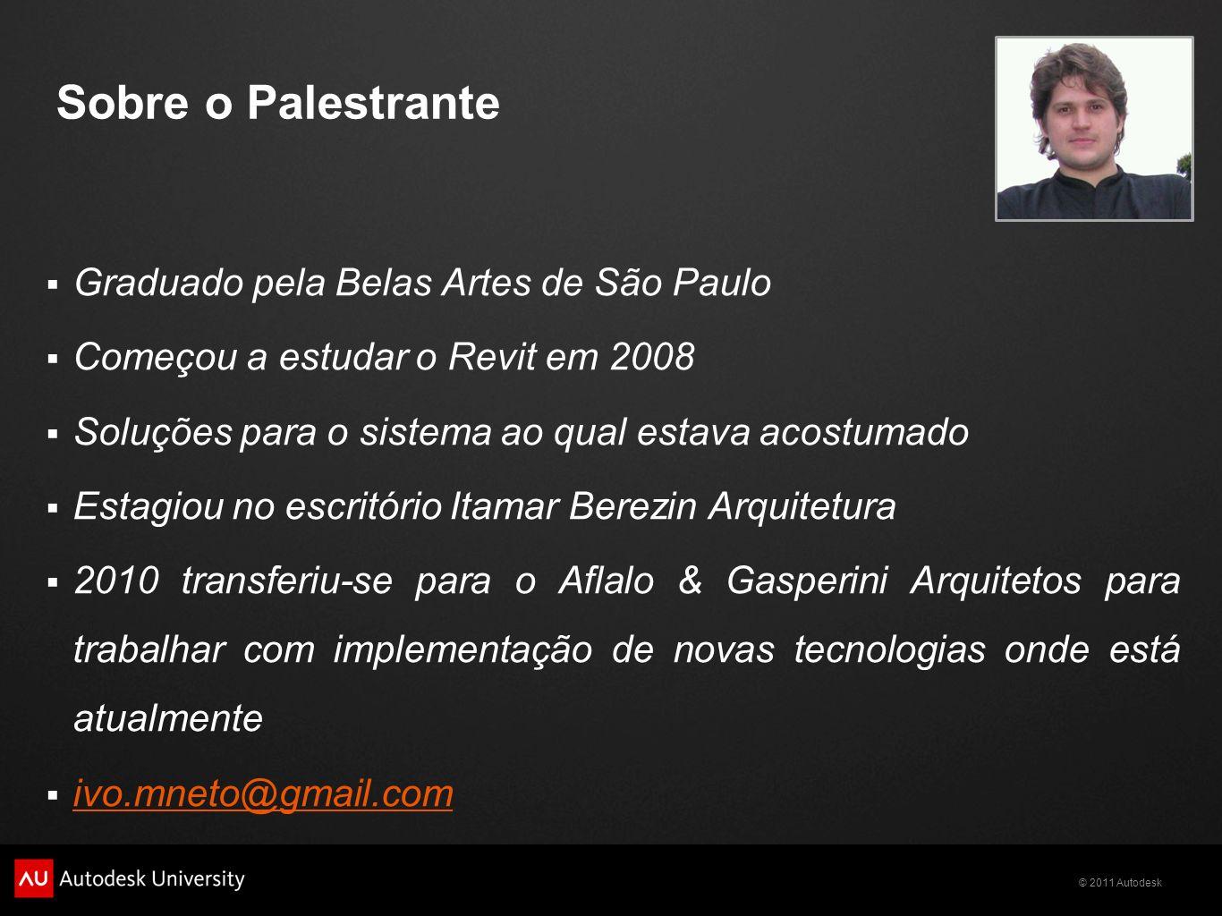 Sobre o Palestrante Graduado pela Belas Artes de São Paulo