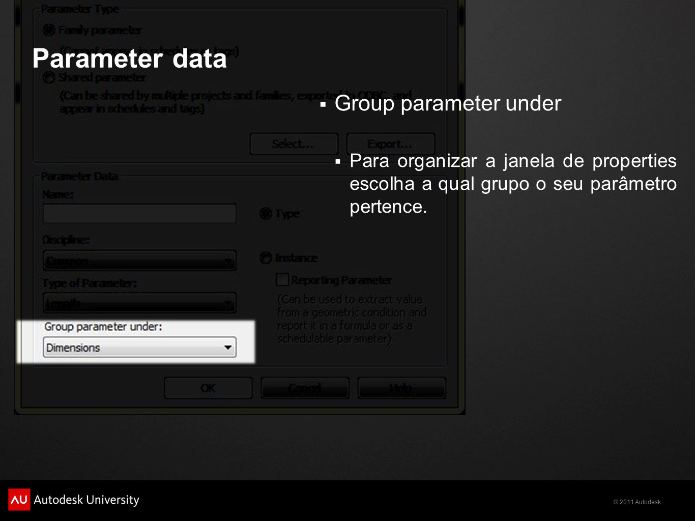 Parameter data Group parameter under