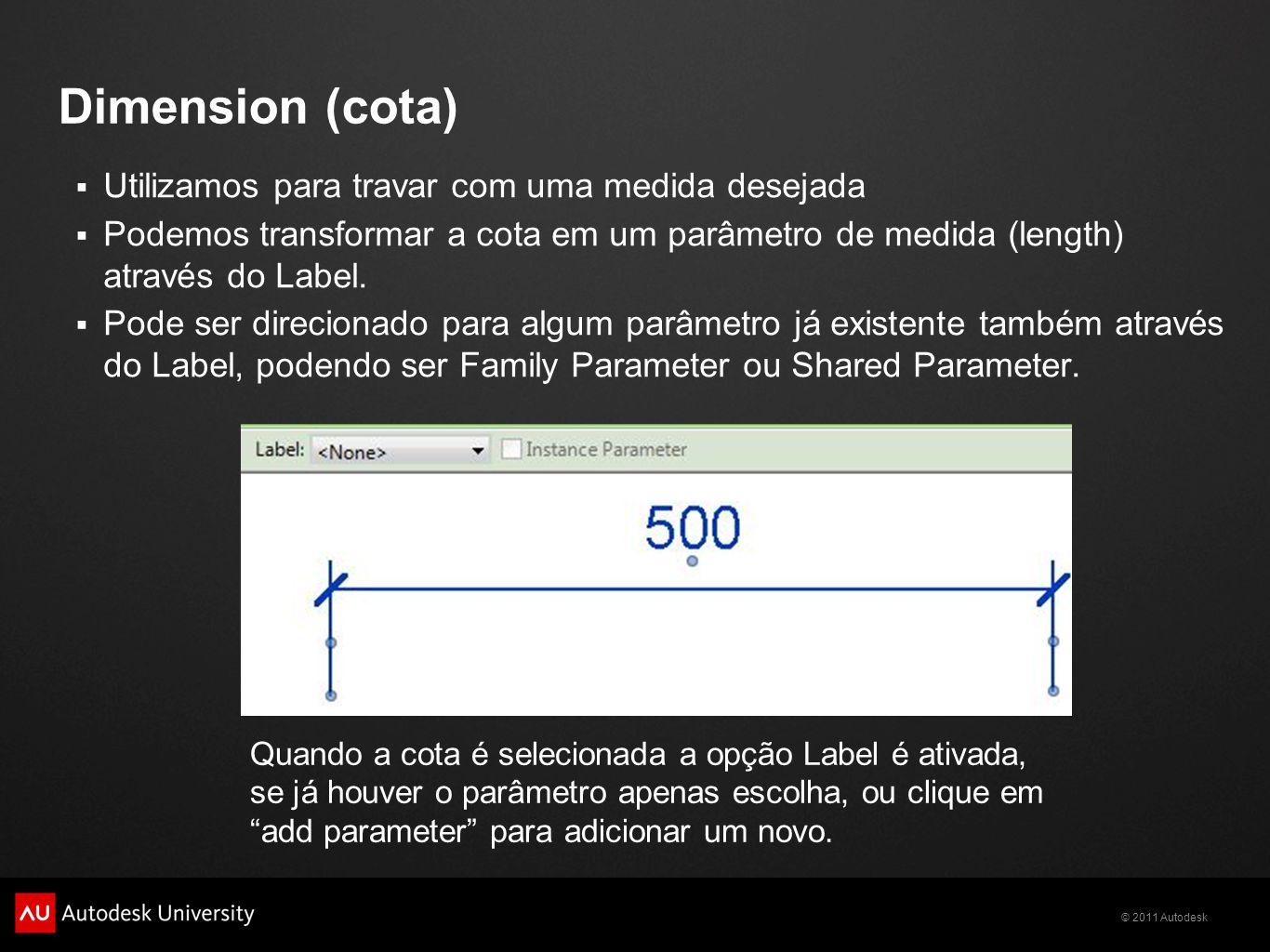 Dimension (cota) Utilizamos para travar com uma medida desejada